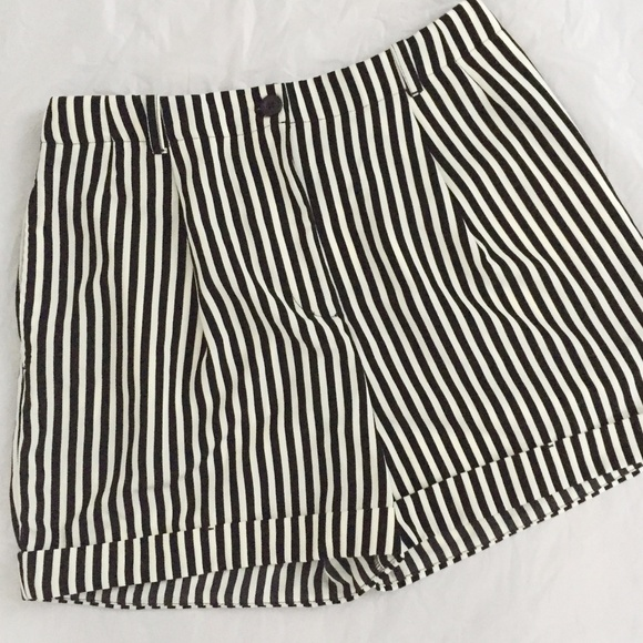 American Apparel Pleated Cuff Striped Shorts
